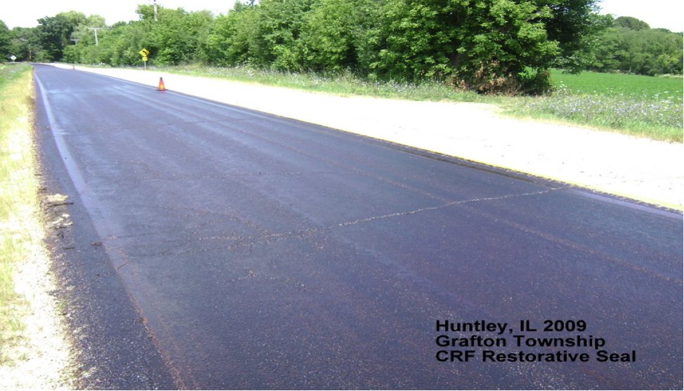Restorative Seal for Cracked Roads, treat before chipseal for added asphalt life cycle.